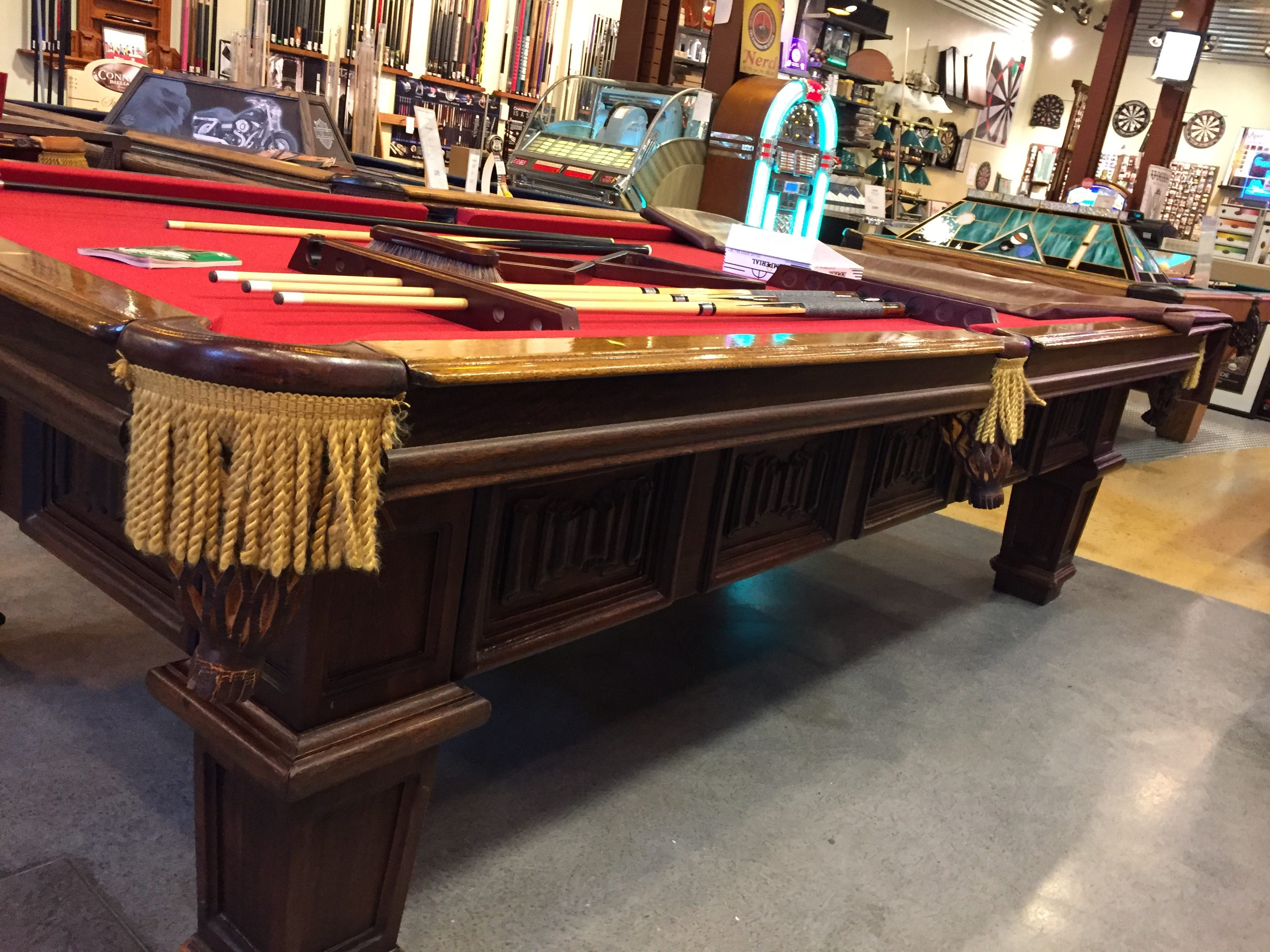 1950 9ft Antique Brunswick Pool Table U2013 Included With The Antique 1950  Brunswick Table, New Cloth In Your Choice Of Color, A Players Kit With All  ...