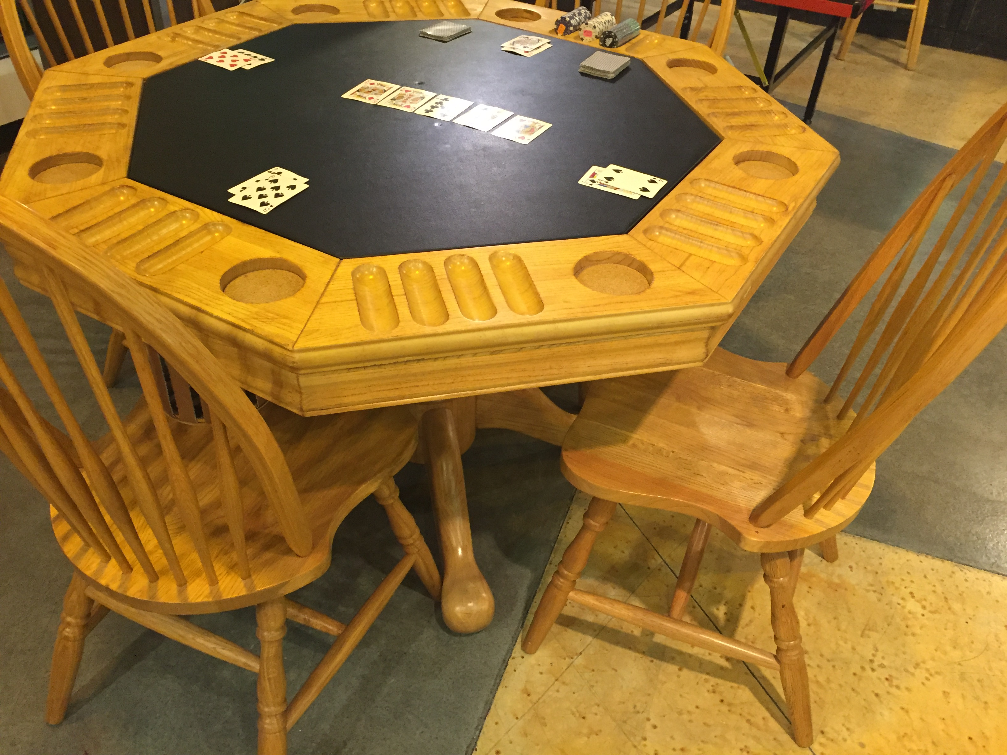 Great Four In One Game Table #19 - 48 Inch 3 In 1 Game Table U2013 Oak Finish Table Top With Cup U0026 Chip Holders  Bumper Pool U0026 Accessories Four (4) Matching Chairs