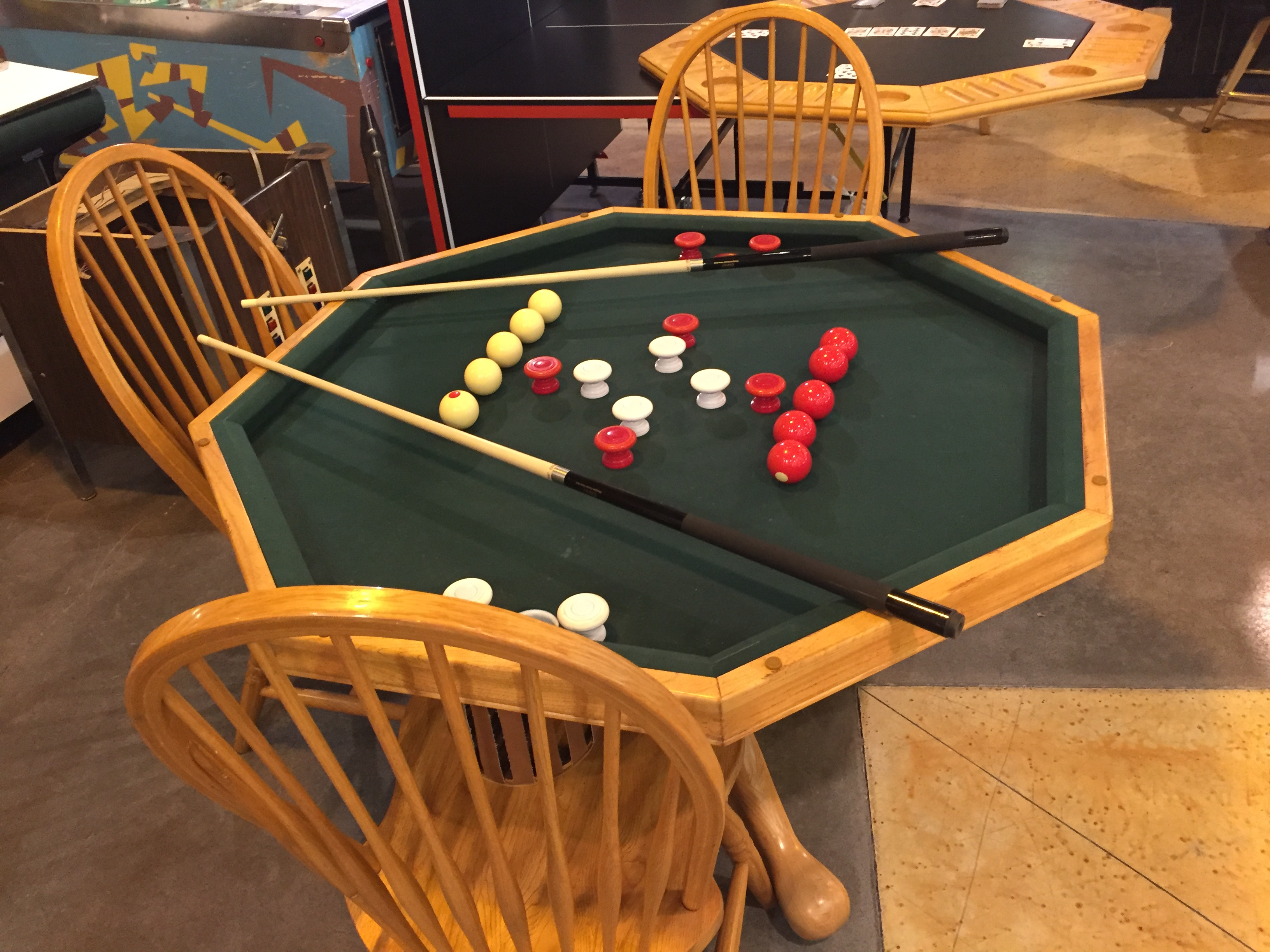 48 Inch 3 In 1 Game Table Oak Finish Top With Cup Chip Holders Per Pool Accessories Four 4 Matching Chairs